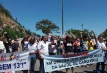 Sindicatos fecham Ponte Feliciano Sodré em manifestação em Cabo Frio