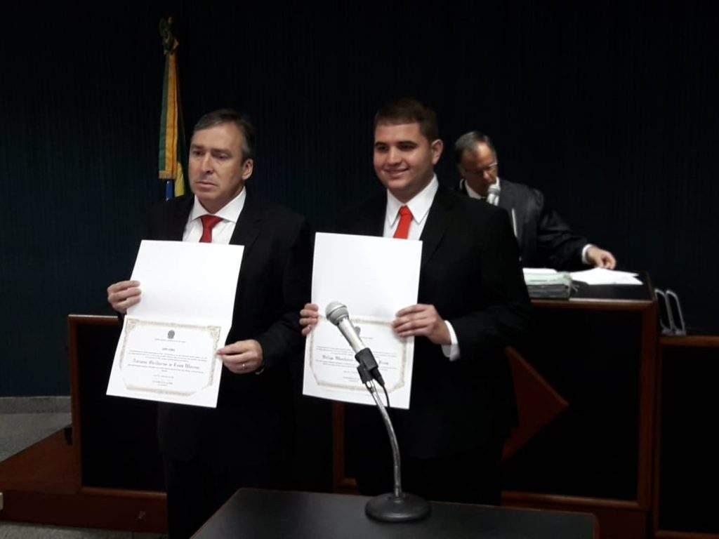 Dr Adriano e Felipe Monteiro recebem diplomação da Justiça Eleitoral